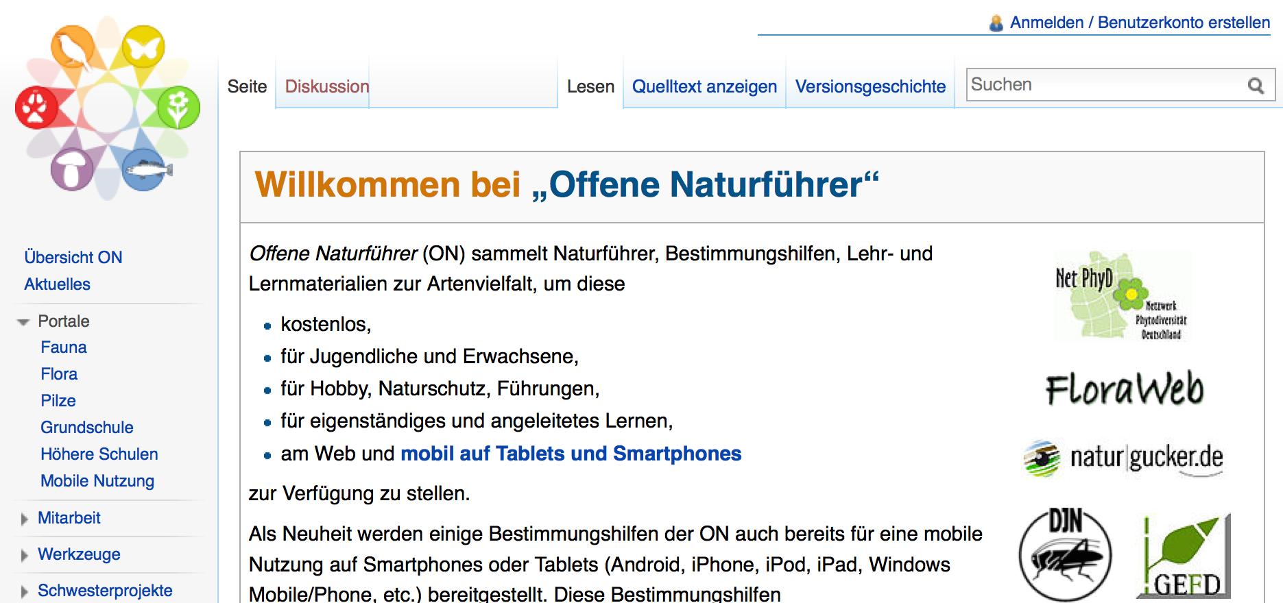 Screenshot von offene-naturfuehrer.de (nicht unter freier Lizenz)
