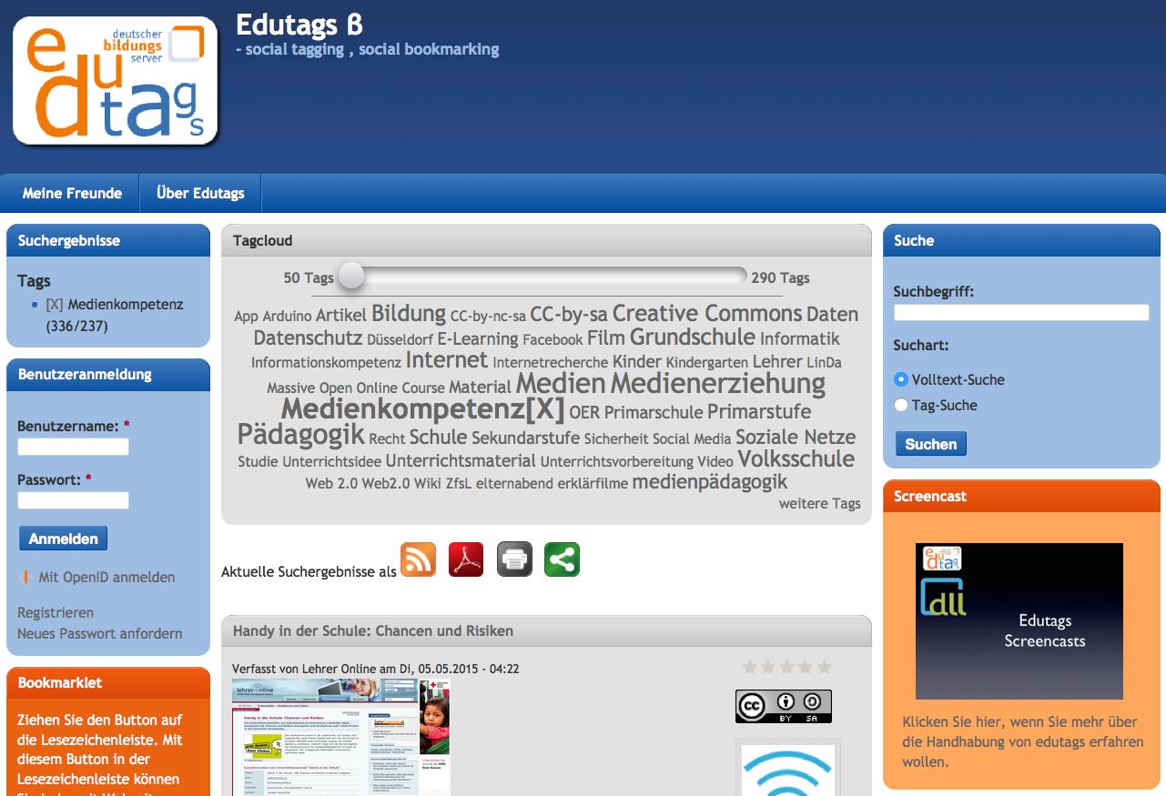 Screenshot von edutags.de (nicht unter freier Lizenz)