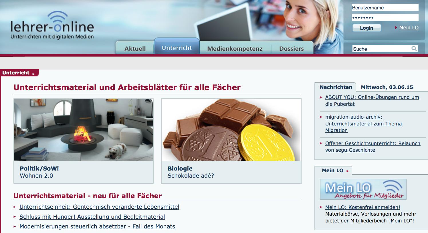 Screenshot von lehrer-online.de (nicht unter freier Lizenz)