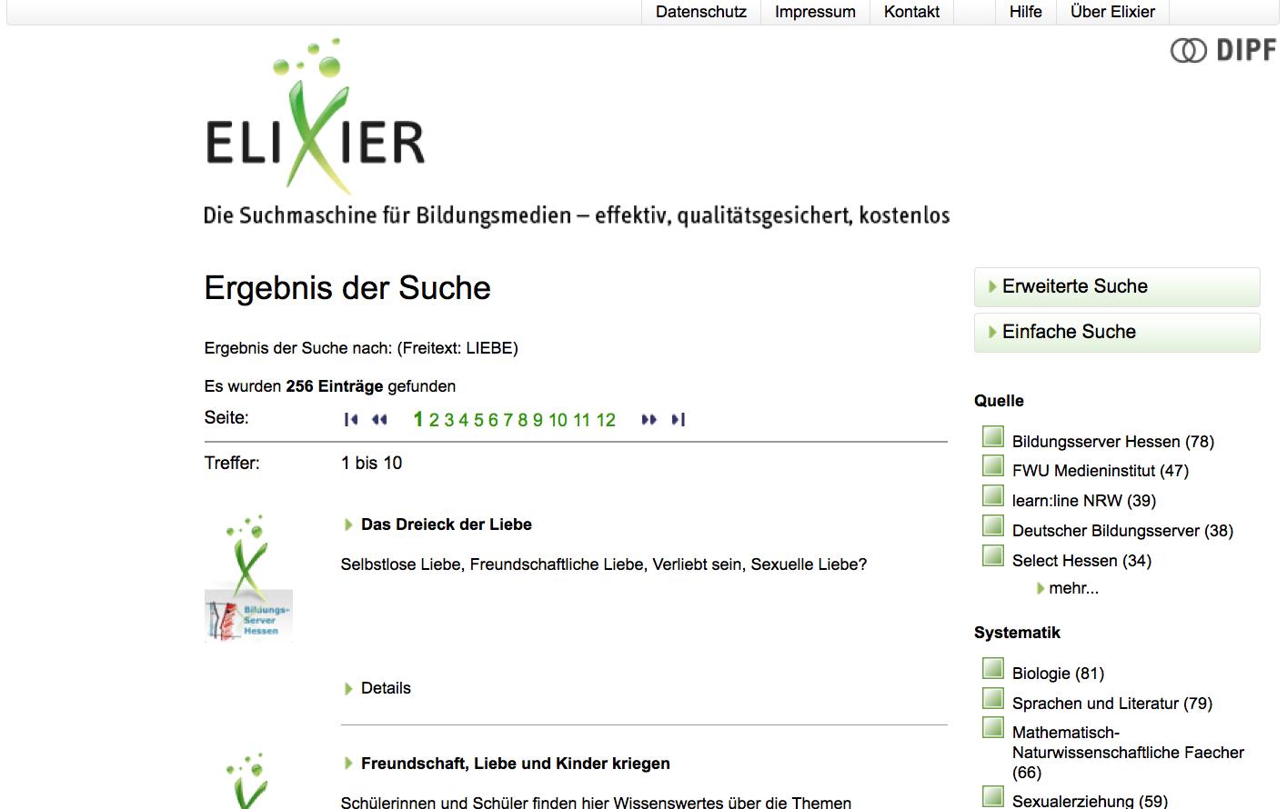 Screenshot von bildungsserver.de/elixier (nicht unter freier Lizenz)