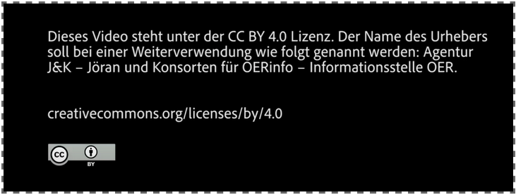 Abspanntext für Video mit Creative Commons Lizenzhinweis CC BY 4.0