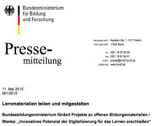 BMBF - Pressemitteilung (nicht unter freier Lizenz)