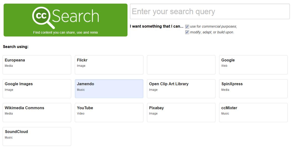 Screenshot der Suche von Creative Commons