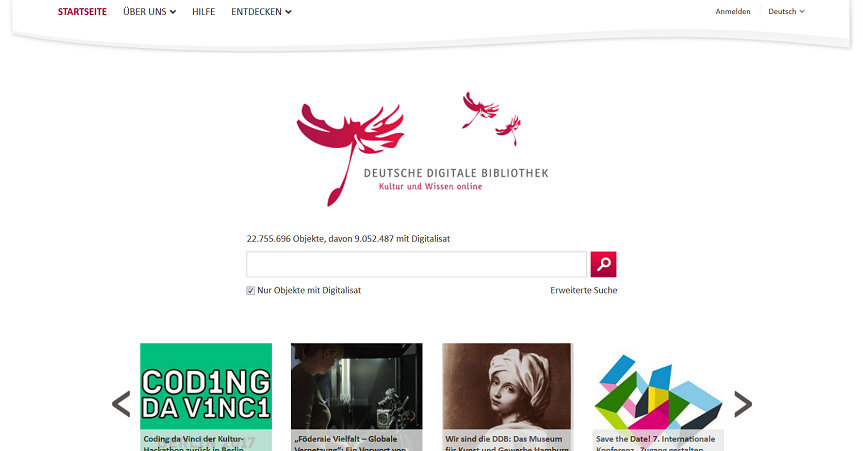 Deutsche Digitale Bibliothek, Screenshot