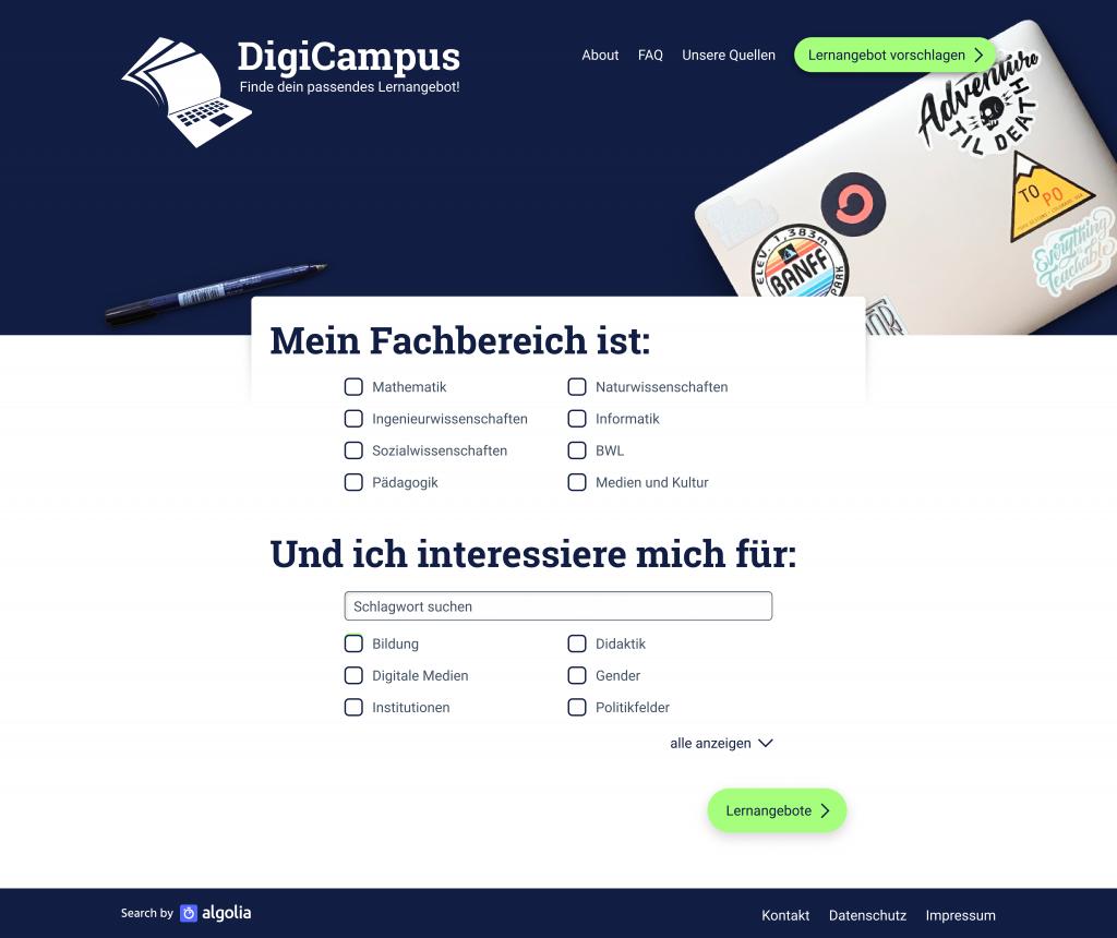 DigiCampus Mockup (Screenshot), nicht unter freier Lizenz