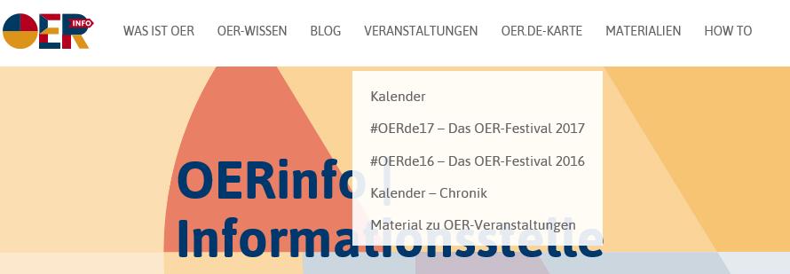 Screenshot Menü OERinfo
