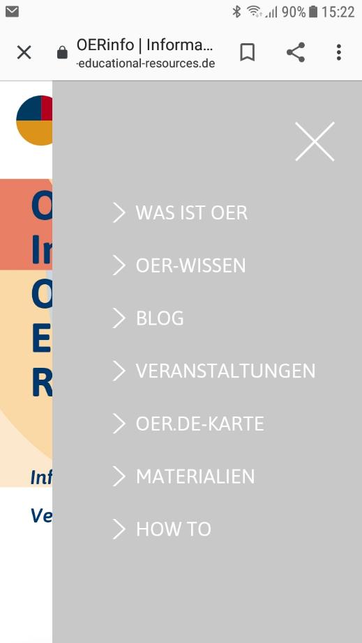 Screenshot Mobiles Menü OERinfo