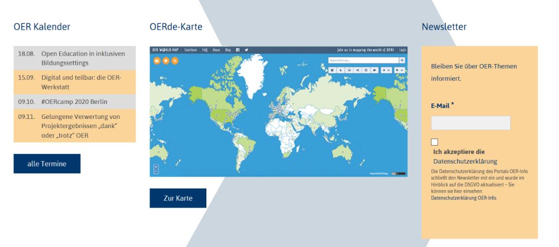 Screenshot Startseite OERinfo