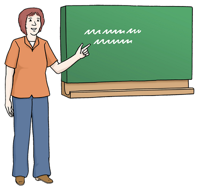 Bild von Lehrerin an Tafel