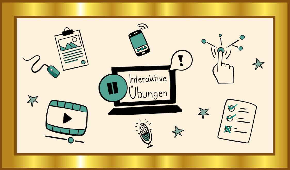 Icons illustrieren den Gold-Standard für Arbeitsblätter und interaktive Übungen als OER
