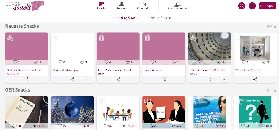 """""""Startseite Learning Snacks"""" von learningsnacks.de"""
