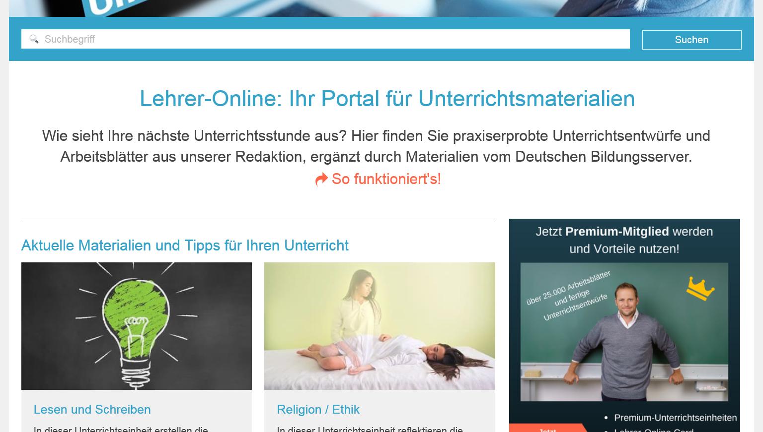 Screenshot Portal Lehrer-Online