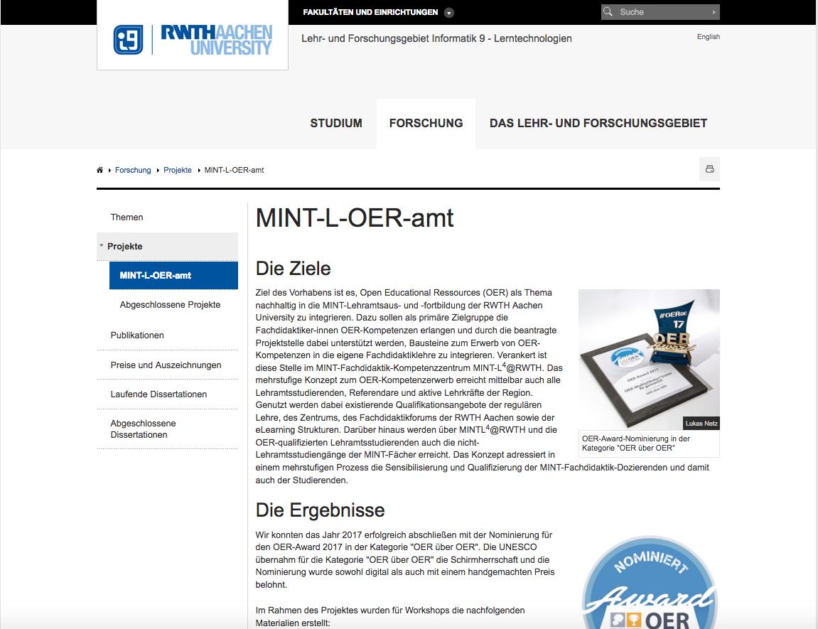 Screenshot Projektseite MINT-L-OER-amt, nicht unter freier Lizenz