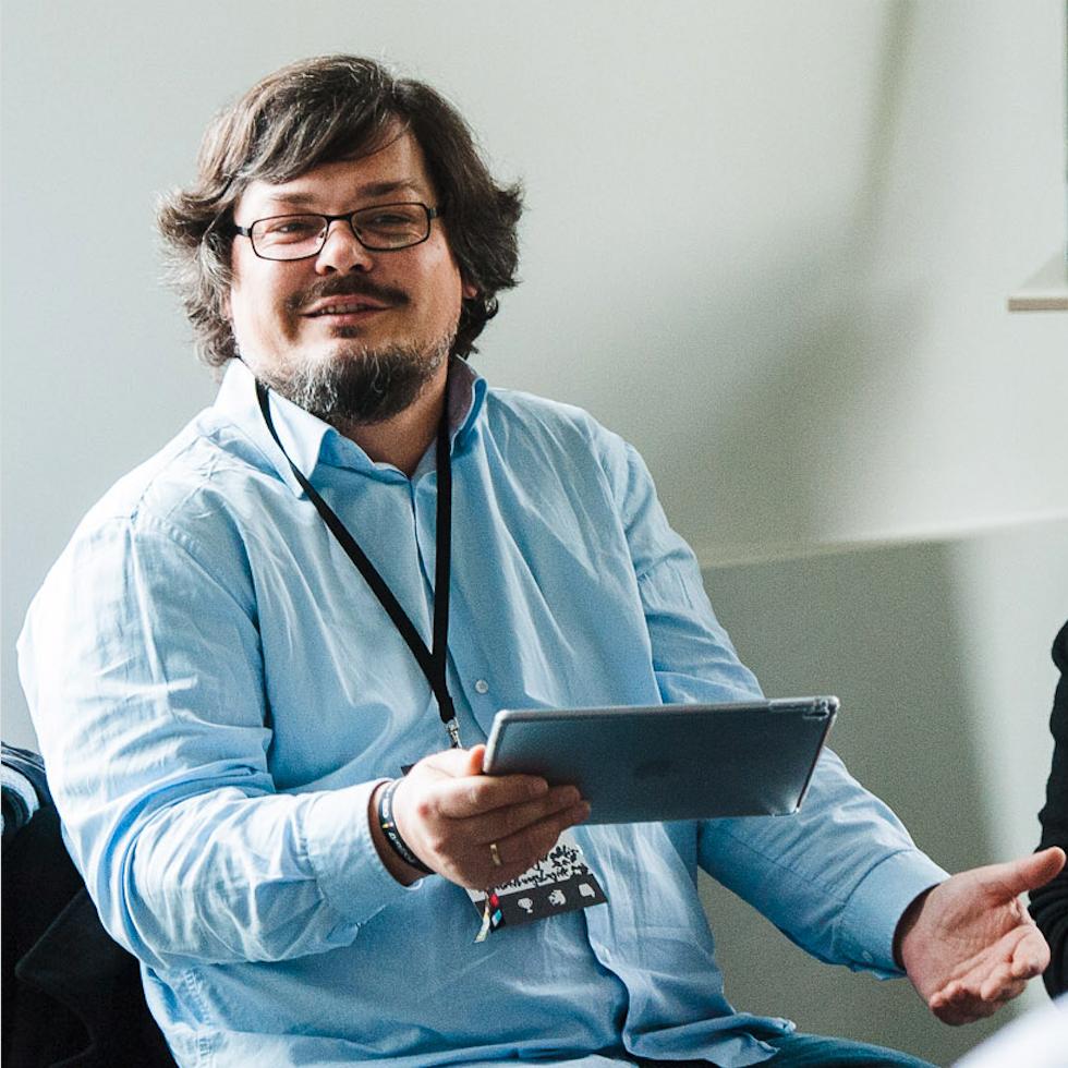 Martin Nestler, Projektkoordinator OSM@BB. Foto von Tilman Vogler für OERde17 unter CC BY 4.0 (Zuschnitt von Simon Hrubesch).