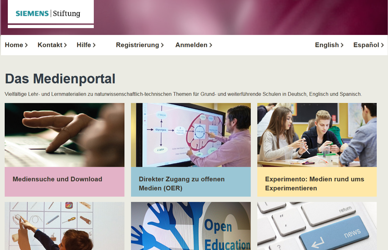 Screenshot Medienportal Siemens-Stiftung