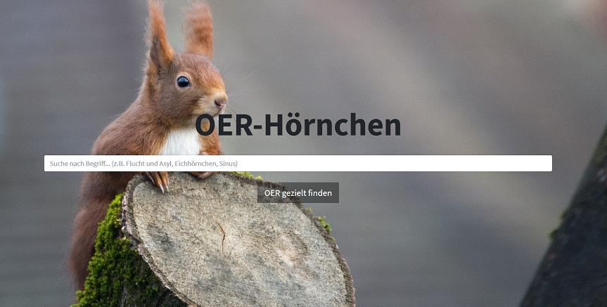 Screenshot Suchdienst OER-Hörnchen