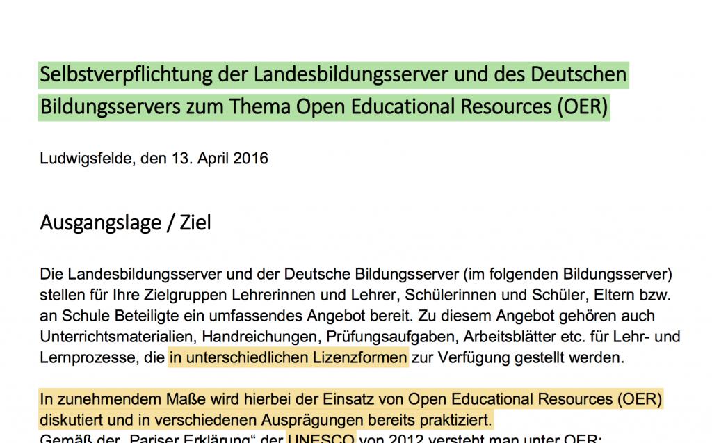 OER-Stellungnahme der Bildungsserver (Screenshot der Stellungsnahme)