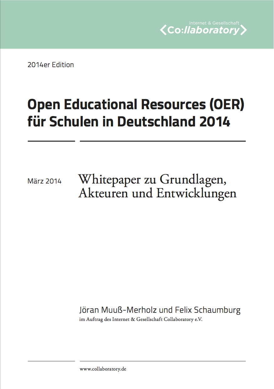 Open Educational Resources (OER) für Schulen in Deutschland 2014