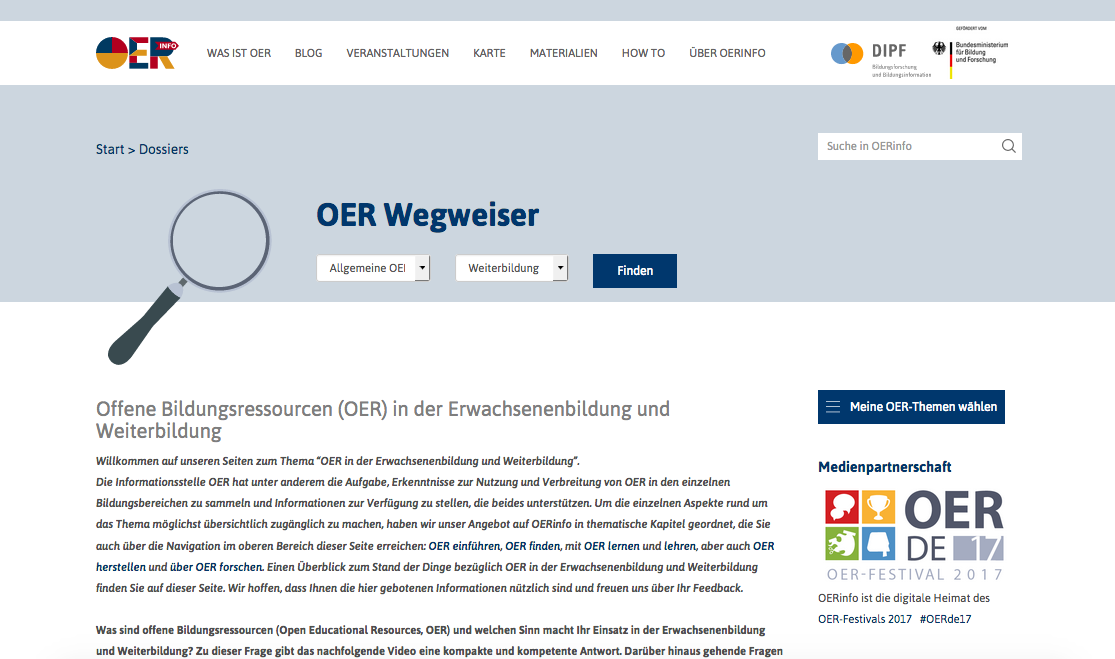 Screenshot von OERInfo. CC BY 4.0.