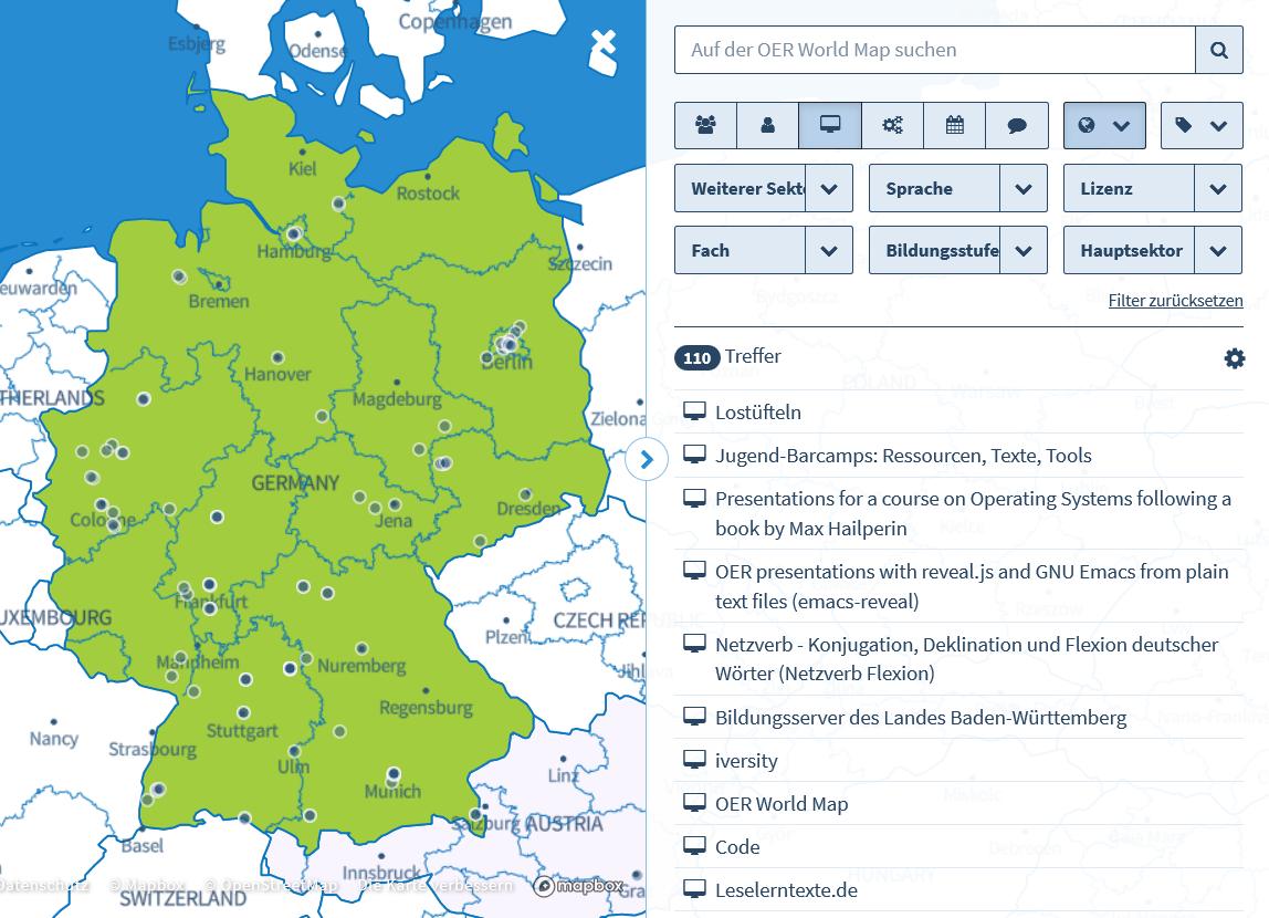 Screenshot OERde-Karte, Suche nach Services in Deutschland