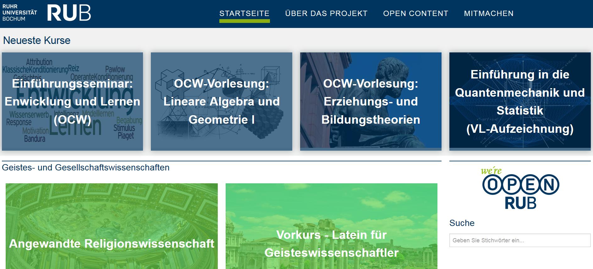 Screenshot OpenRUB Ruhr-Uni Bochum