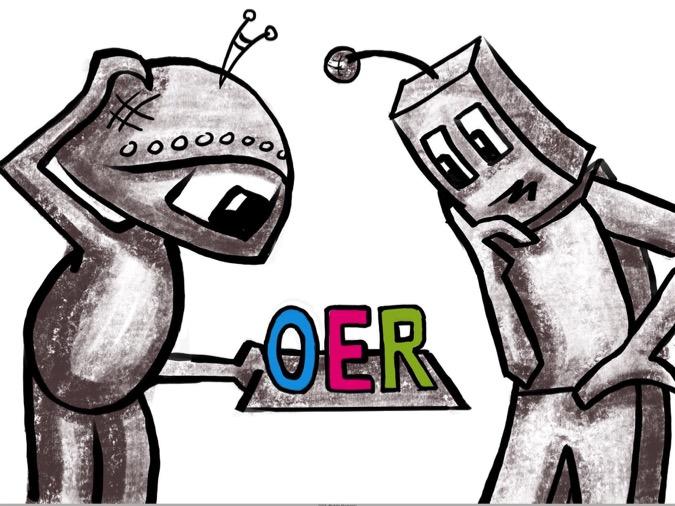 Illustration – zwei Roboter beugen sich über die Buchstaben OER