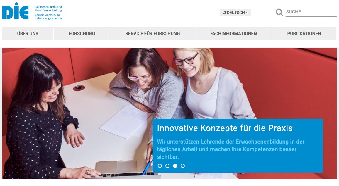 Screenshot DIE (Deutsches Institut für Erwachsenenbildung)