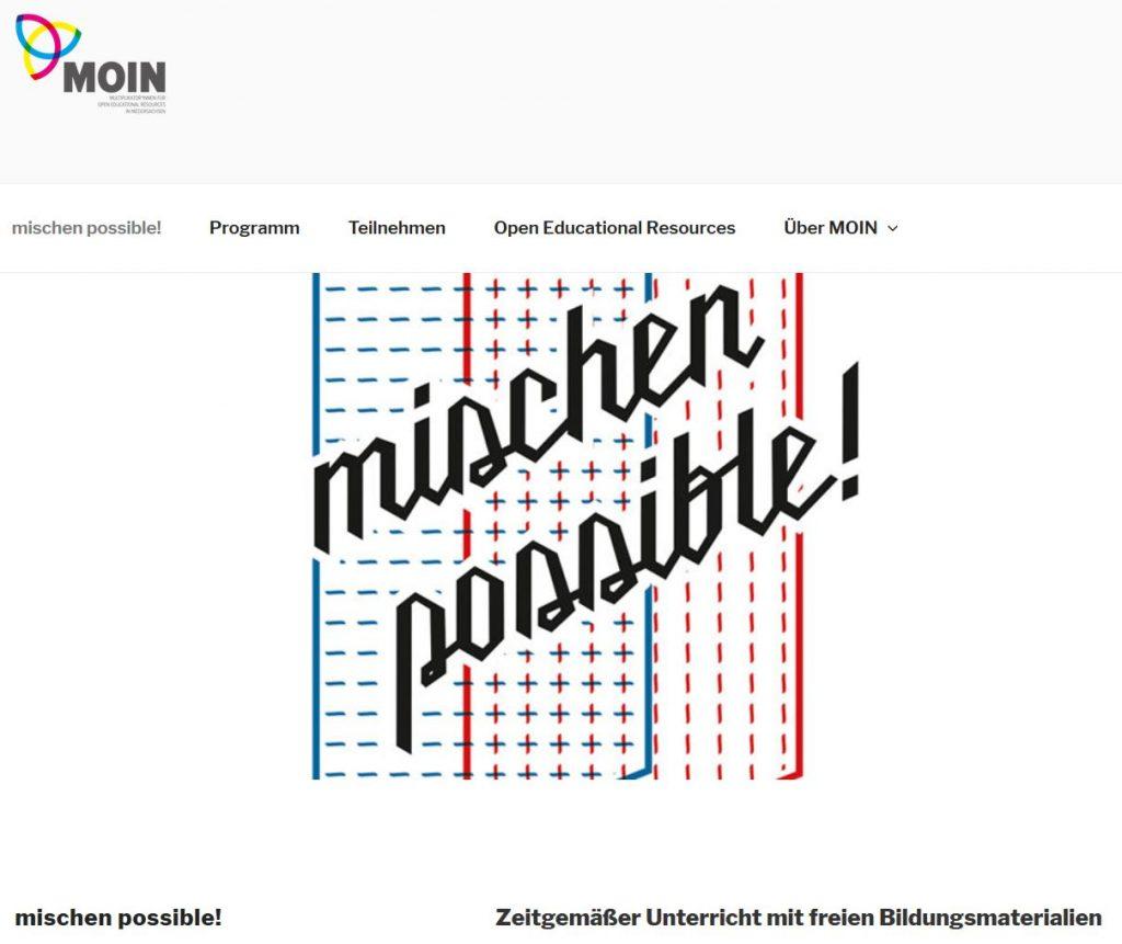 Screenshot der Projektwebsite MOIN, nicht unter freier Lizenz