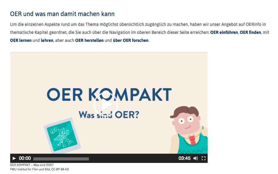 Vorschau: OER und Schule, Screenshot unter der Lizenz CC BY 4.0.