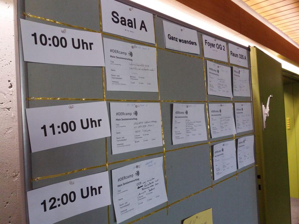 ein Sessionplan auf einer Pinnwand