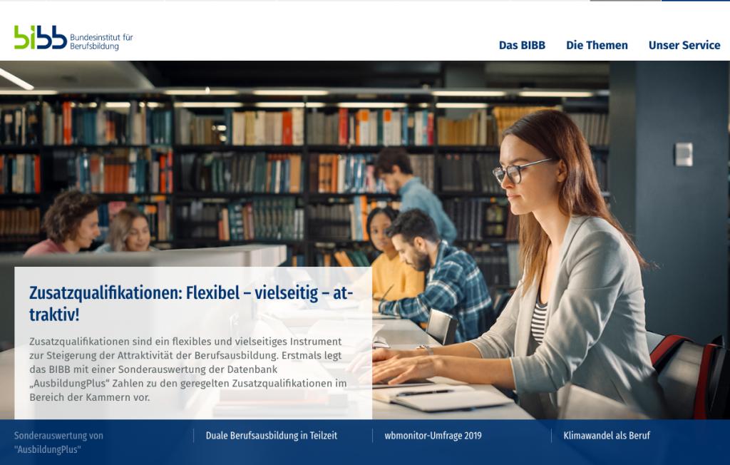 Startseite BIBB, Screenshot nicht unter freier Lizenz