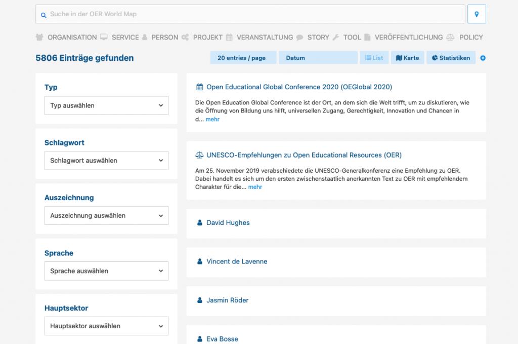 Screenshot Suche auf der OER World Map
