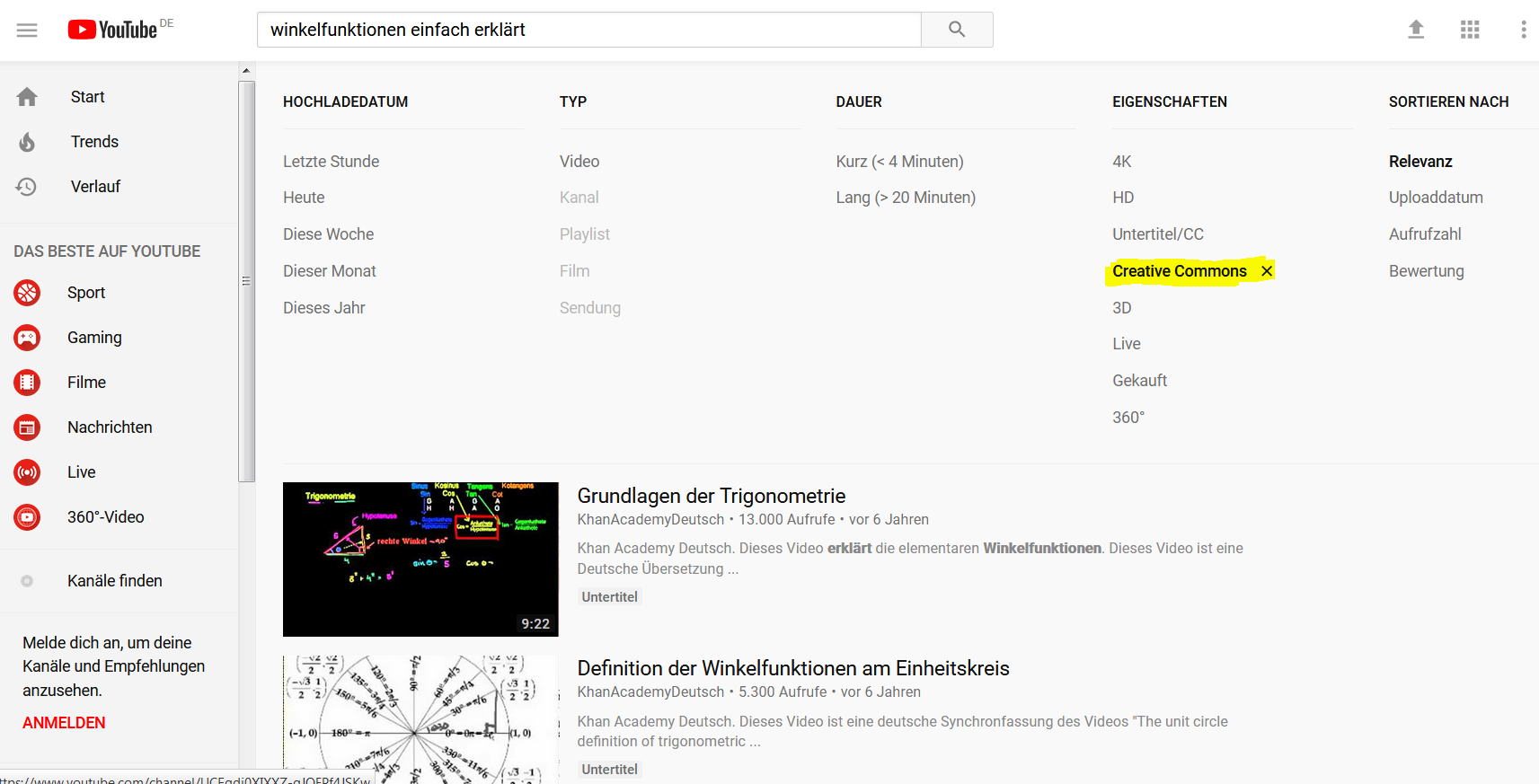 Screenshot, Filter bei YouTube-Suche