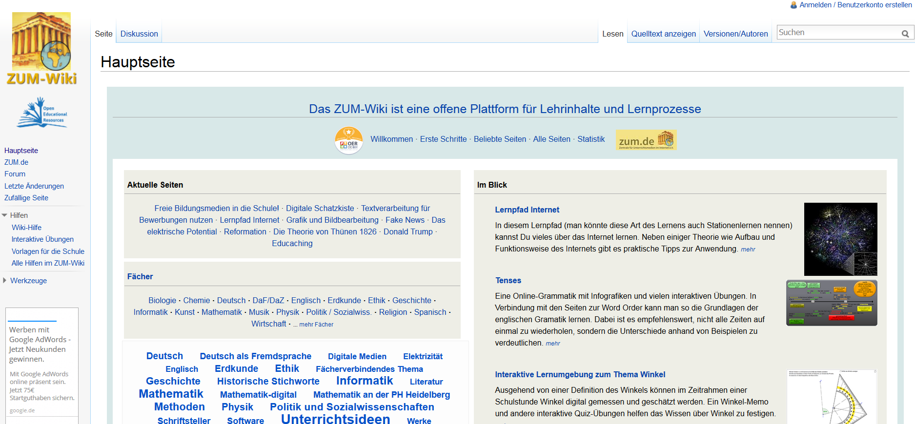 Screenshot ZUM-Wiki