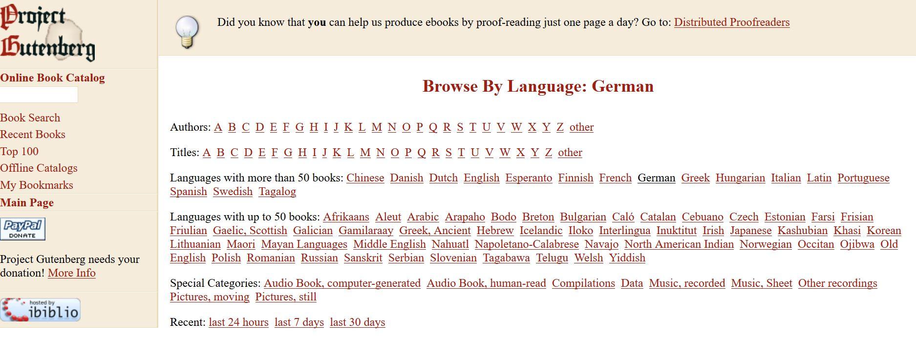 Startseite Projekt Gutenberg