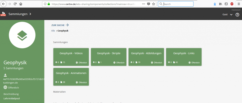 Screenshot der Lehrmaterialsammlung Geophysik im ZOERR