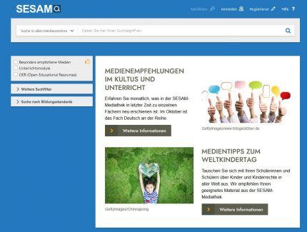 SESAM-Mediathek, Screenshot