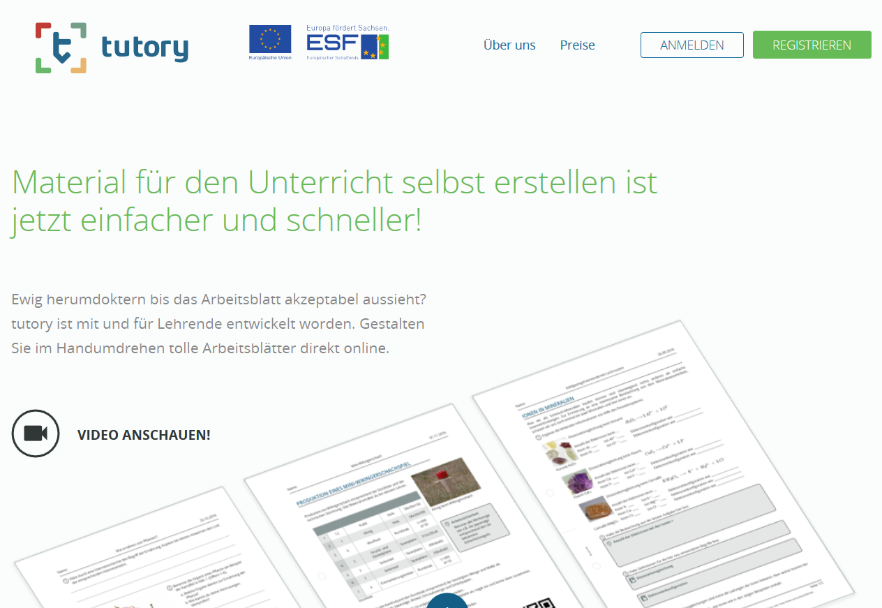 Screenshot OER-Tool tutory