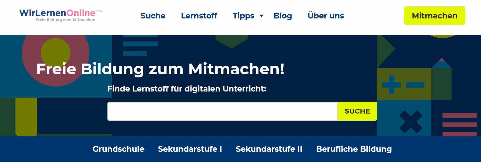 Screenshot von ww.wirlernenonline.de